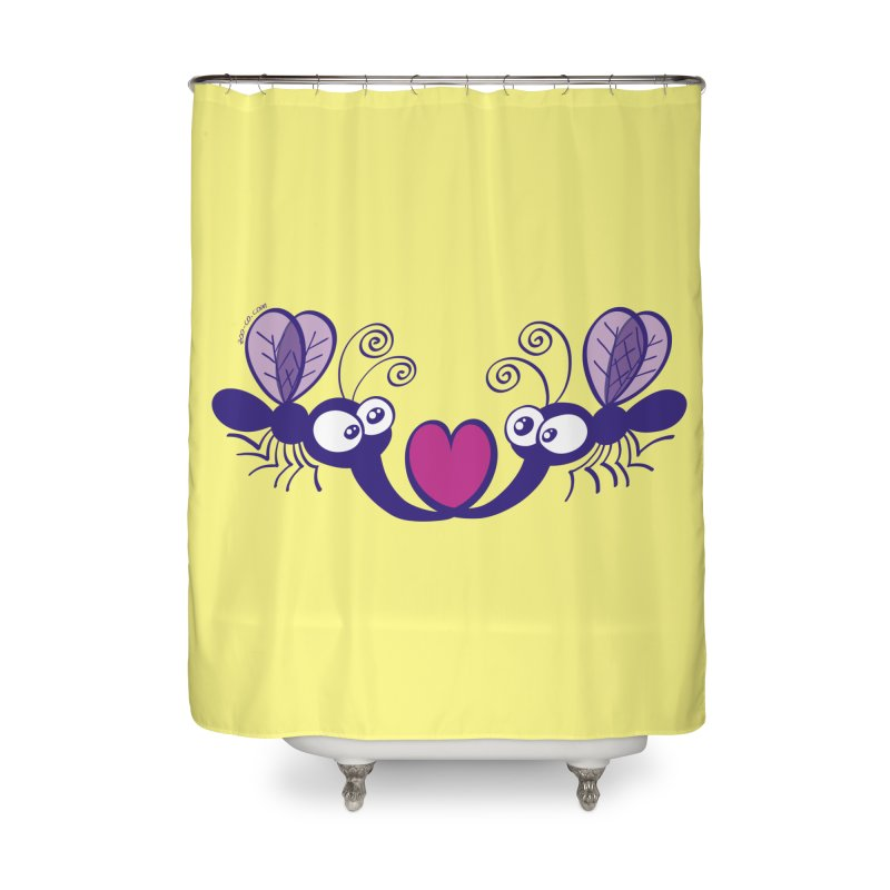 Funny mosquitoes irremediably falling in love Home Shower Curtain by Zoo&co's Artist Shop
