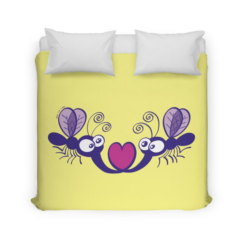 Funny mosquitoes irremediably falling in love Home Duvet by Zoo&co's Artist Shop