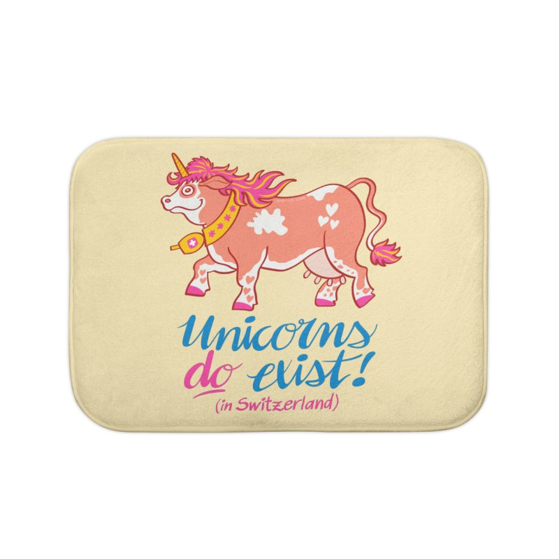Unicorns do exist in Switzerland Home Bath Mat by Zoo&co's Artist Shop