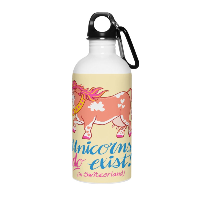 Unicorns do exist in Switzerland Accessories Water Bottle by Zoo&co's Artist Shop