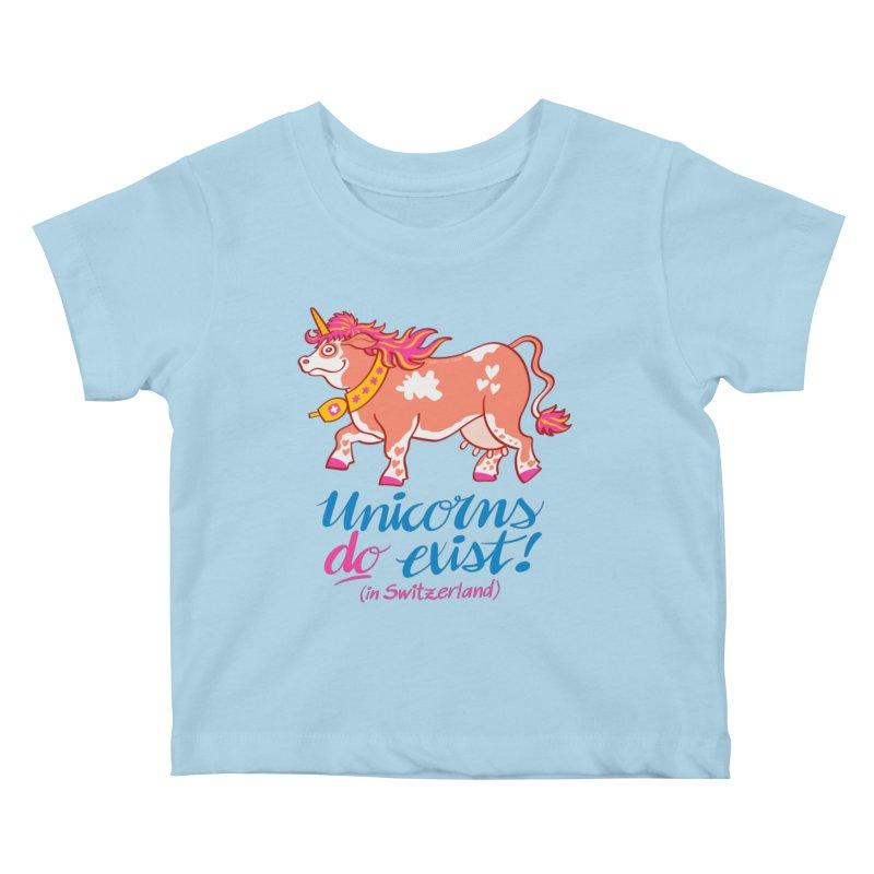Unicorns do exist in Switzerland Kids Baby T-Shirt by Zoo&co's Artist Shop