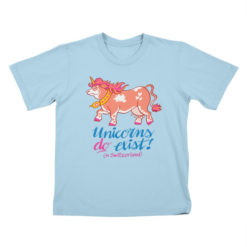 Unicorns do exist in Switzerland Kids T-Shirt by Zoo&co's Artist Shop