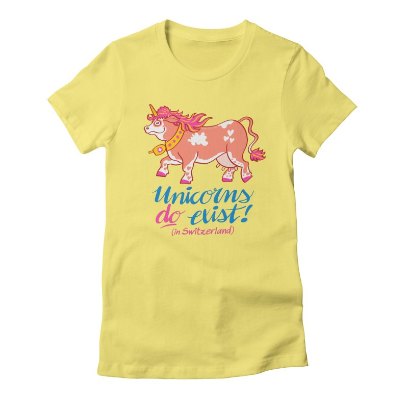 Unicorns do exist in Switzerland Women's Fitted T-Shirt by Zoo&co's Artist Shop