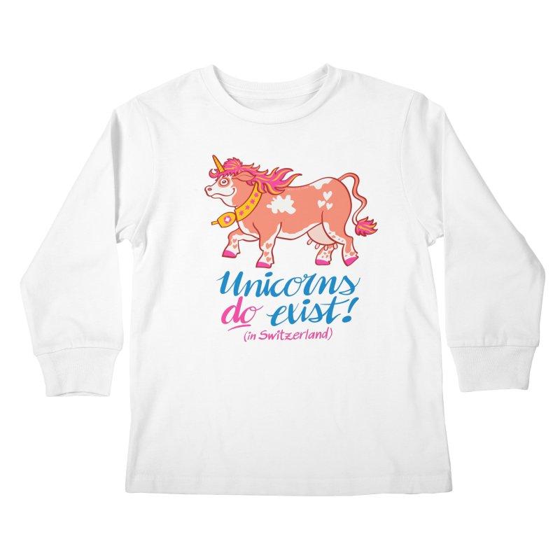 Unicorns do exist in Switzerland Kids Longsleeve T-Shirt by Zoo&co's Artist Shop