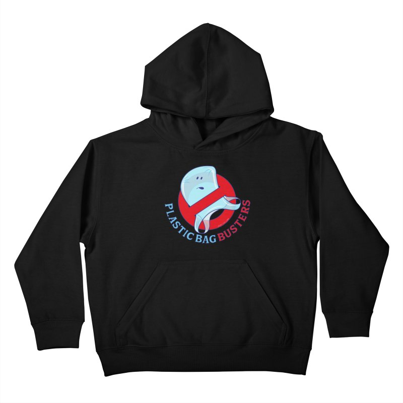 Plastic bag busters: Stop plastic pollution Kids Pullover Hoody by Zoo&co's Artist Shop
