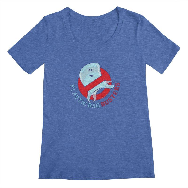 Plastic bag busters: Stop plastic pollution Women's Scoopneck by Zoo&co's Artist Shop
