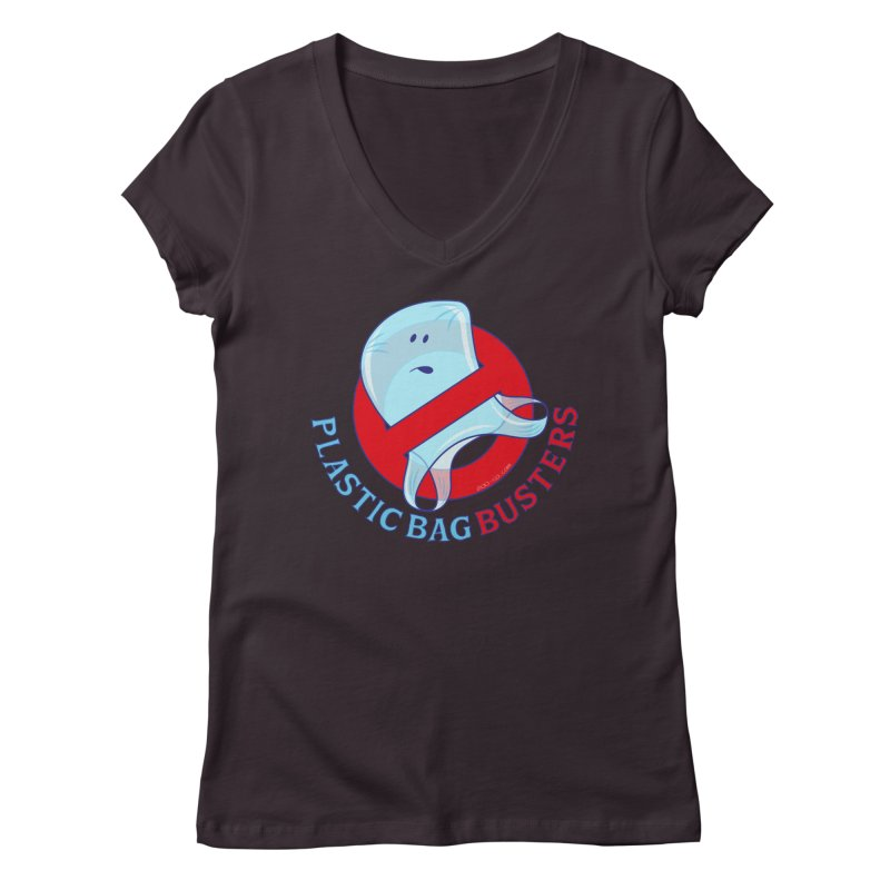 Plastic bag busters: Stop plastic pollution Women's V-Neck by Zoo&co's Artist Shop