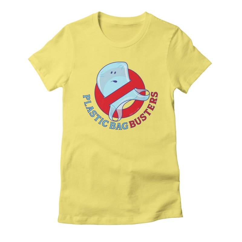 Plastic bag busters: Stop plastic pollution Women's Fitted T-Shirt by Zoo&co's Artist Shop