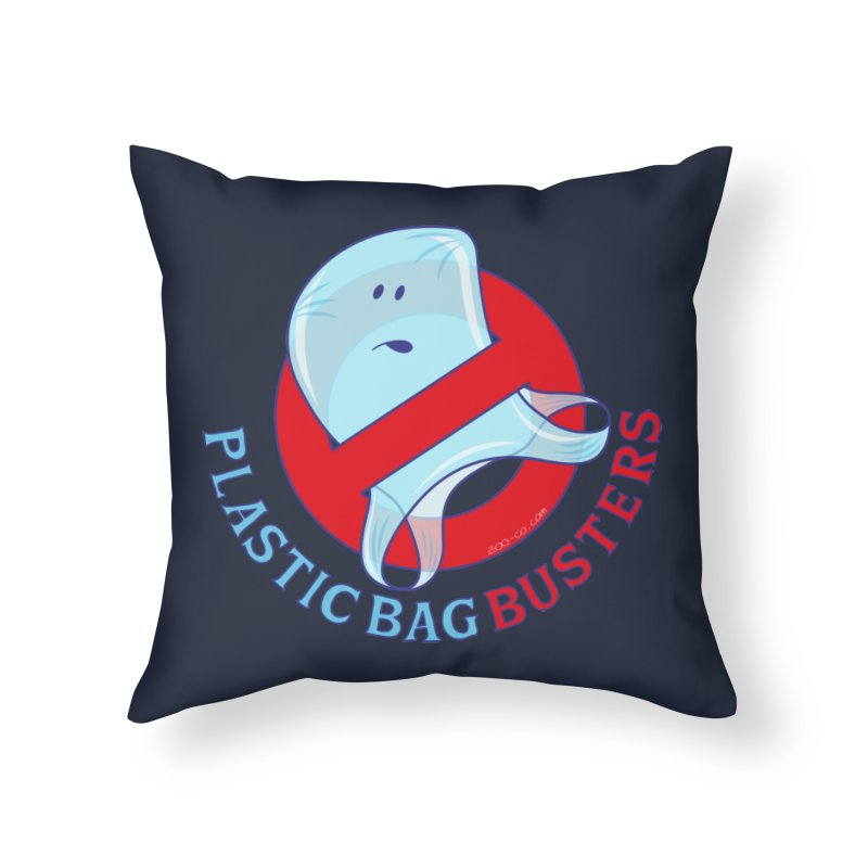 Plastic bag busters: Stop plastic pollution Home Throw Pillow by Zoo&co's Artist Shop