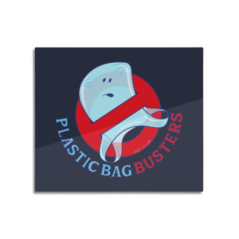 Plastic bag busters: Stop plastic pollution Home Mounted Aluminum Print by Zoo&co's Artist Shop