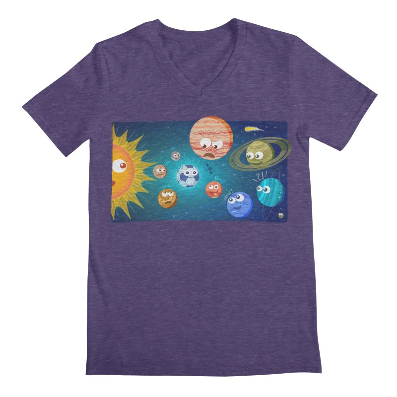 Soccer solar system Men's V-Neck by Zoo&co's Artist Shop
