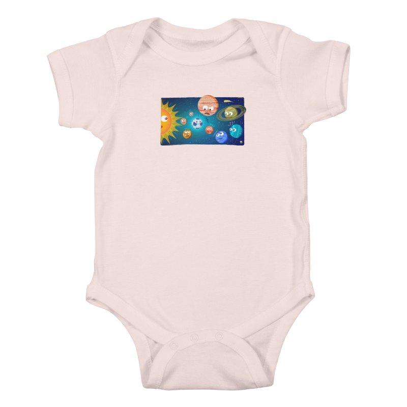 Soccer solar system Kids Baby Bodysuit by Zoo&co's Artist Shop