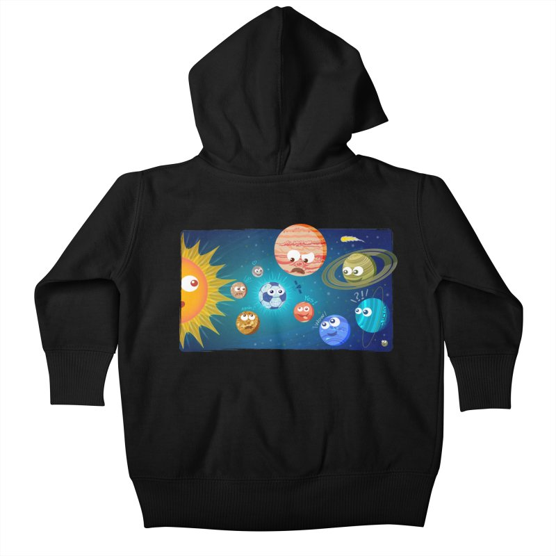 Soccer solar system Kids Baby Zip-Up Hoody by Zoo&co's Artist Shop
