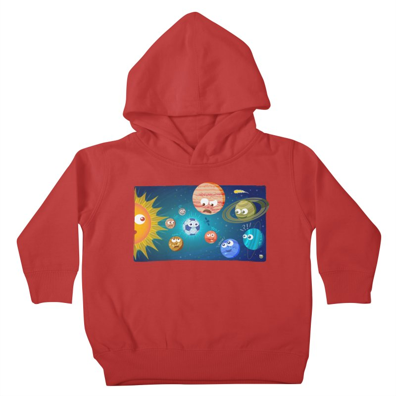 Soccer solar system Kids Toddler Pullover Hoody by Zoo&co's Artist Shop