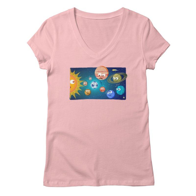 Soccer solar system Women's V-Neck by Zoo&co's Artist Shop