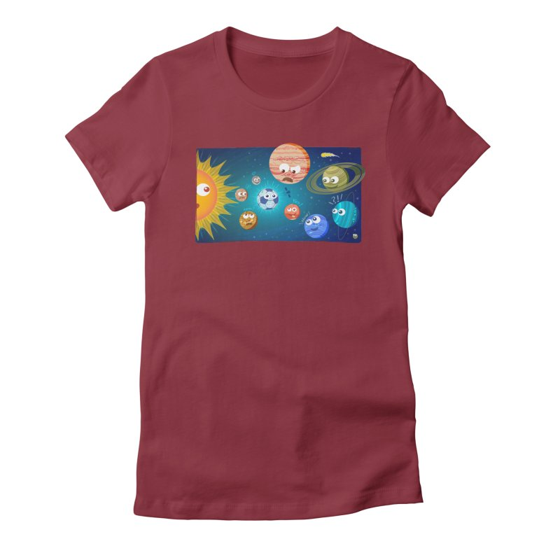 Soccer solar system Women's Fitted T-Shirt by Zoo&co's Artist Shop
