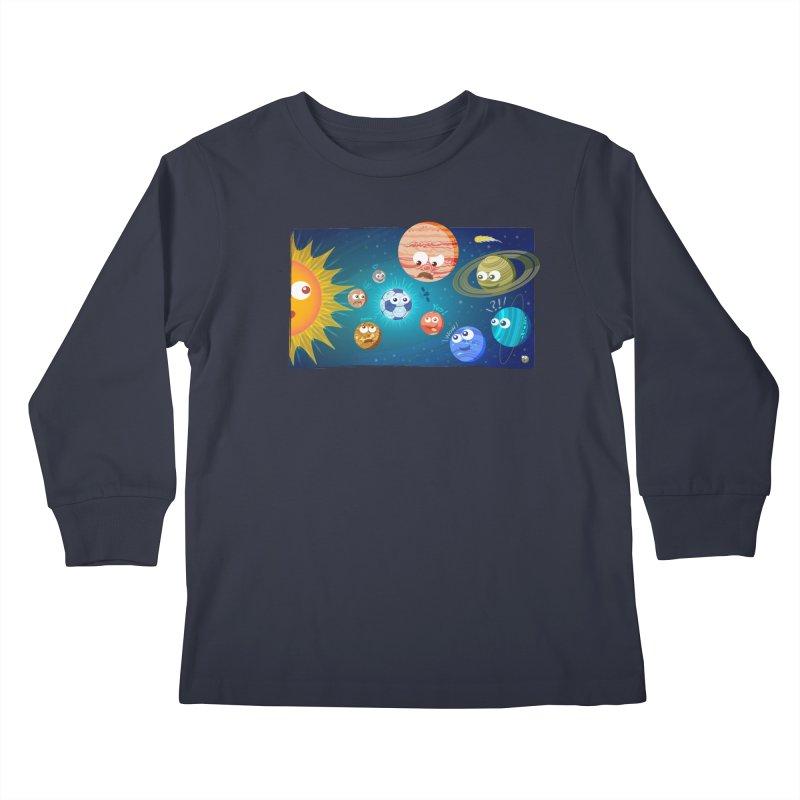 Soccer solar system Kids Longsleeve T-Shirt by Zoo&co's Artist Shop