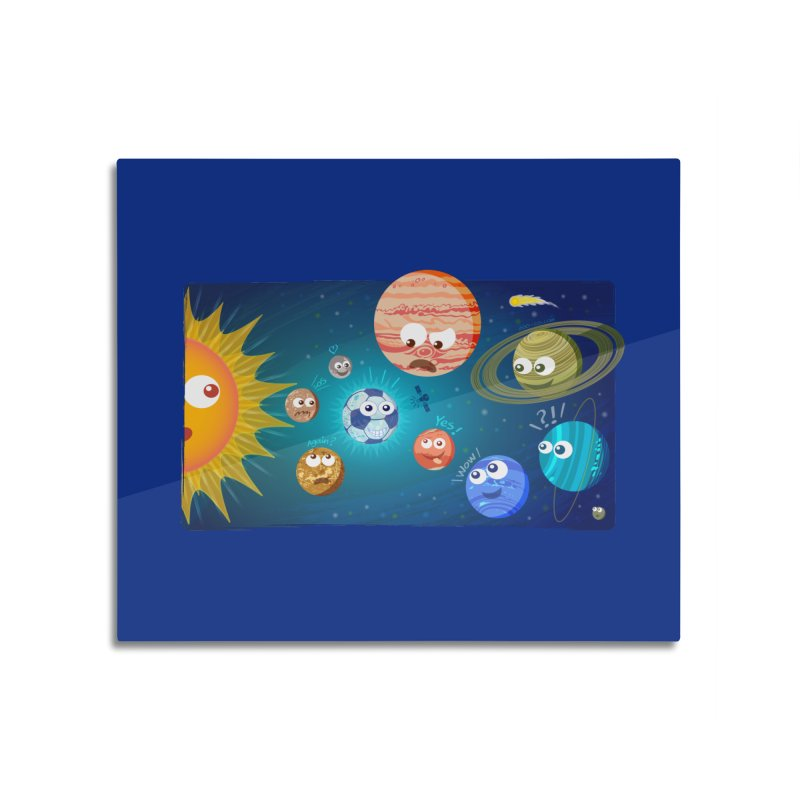 Soccer solar system Home Mounted Aluminum Print by Zoo&co's Artist Shop