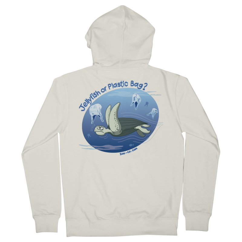 Plastic jellyfishes for a leatherback sea turtle Men's Zip-Up Hoody by Zoo&co's Artist Shop