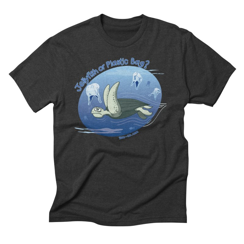 Plastic jellyfishes for a leatherback sea turtle Men's Triblend T-Shirt by Zoo&co's Artist Shop