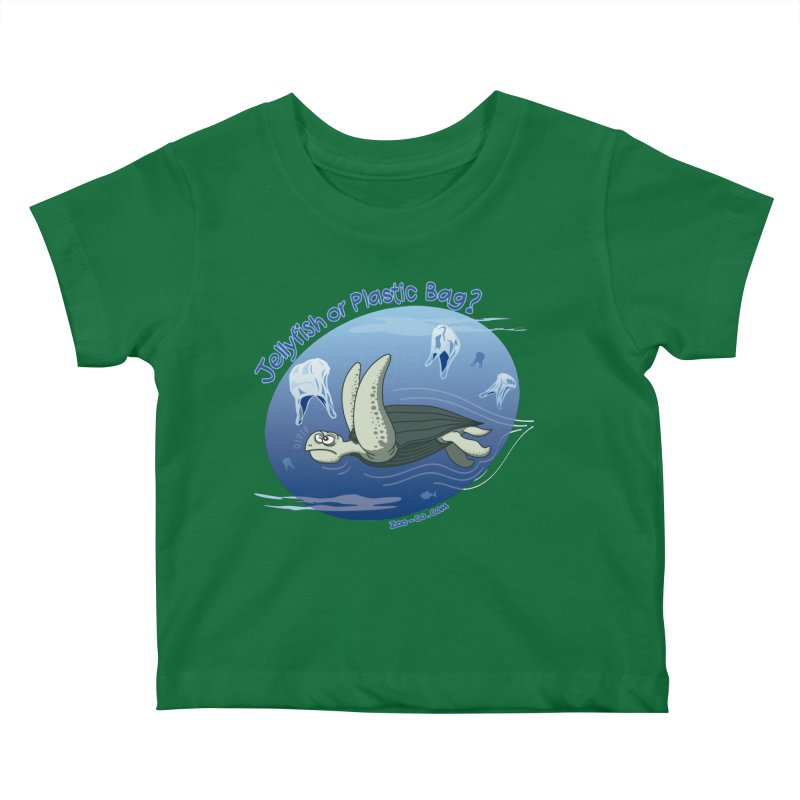 Plastic jellyfishes for a leatherback sea turtle Kids Baby T-Shirt by Zoo&co's Artist Shop