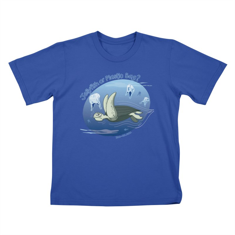 Plastic jellyfishes for a leatherback sea turtle Kids T-Shirt by Zoo&co's Artist Shop
