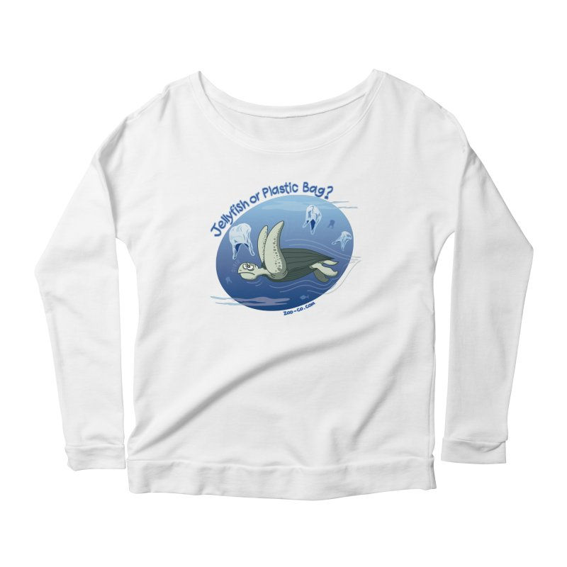 Plastic jellyfishes for a leatherback sea turtle Women's Longsleeve Scoopneck  by Zoo&co's Artist Shop