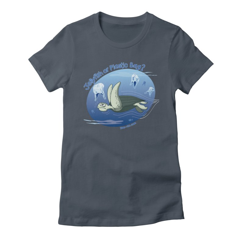 Plastic jellyfishes for a leatherback sea turtle Women's Fitted T-Shirt by Zoo&co's Artist Shop
