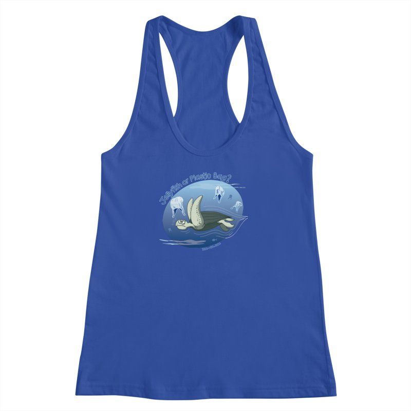 Plastic jellyfishes for a leatherback sea turtle Women's Racerback Tank by Zoo&co's Artist Shop
