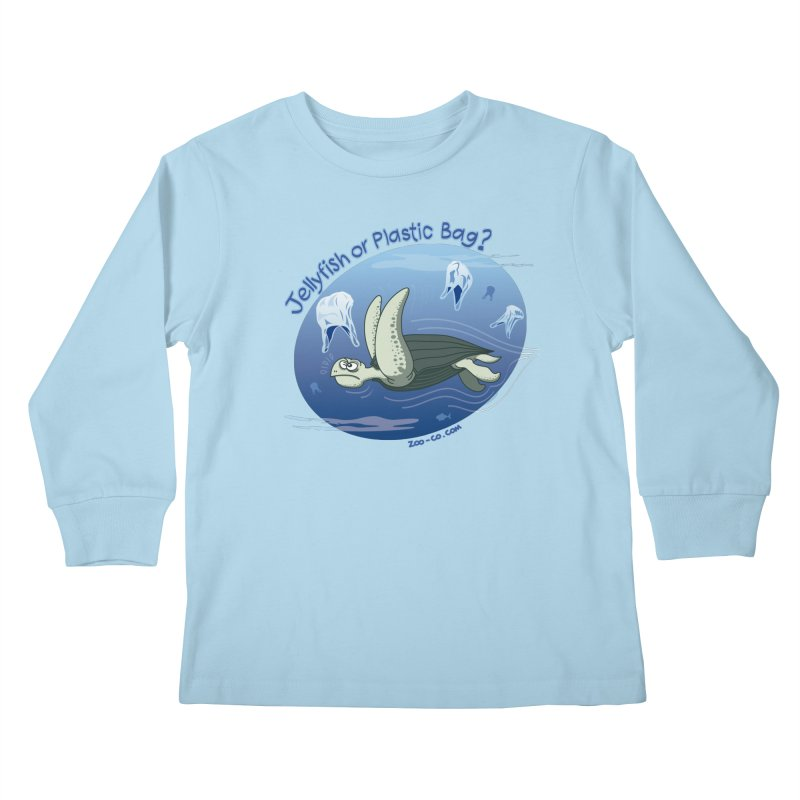Plastic jellyfishes for a leatherback sea turtle Kids Longsleeve T-Shirt by Zoo&co's Artist Shop