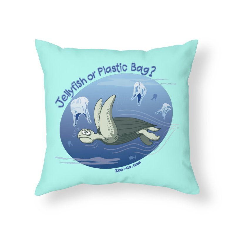 Plastic jellyfishes for a leatherback sea turtle Home Throw Pillow by Zoo&co's Artist Shop