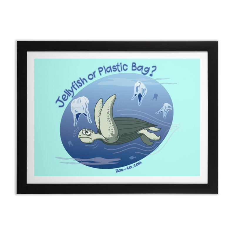 Plastic jellyfishes for a leatherback sea turtle Home Framed Fine Art Print by Zoo&co's Artist Shop