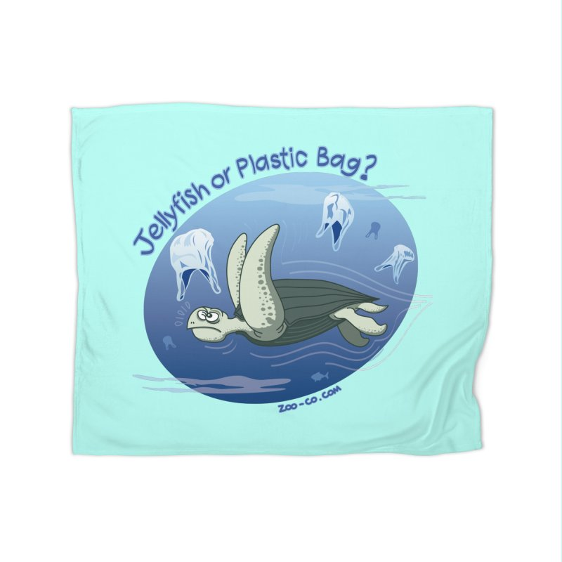 Plastic jellyfishes for a leatherback sea turtle Home Blanket by Zoo&co's Artist Shop