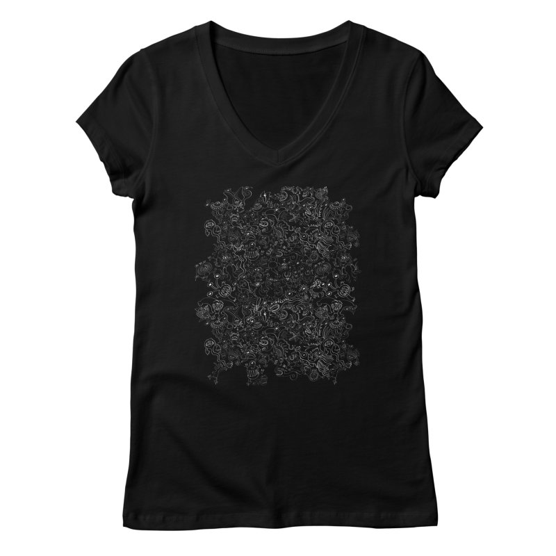 Crazy monsters pattern Women's V-Neck by Zoo&co's Artist Shop