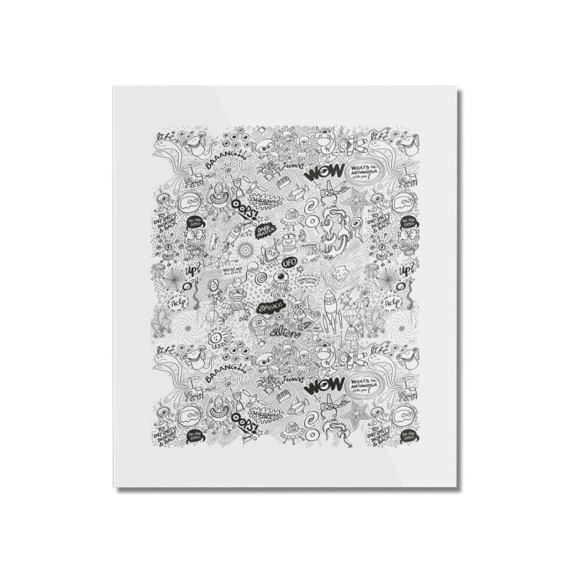 Cool pattern full of aliens, celestial bodies and crazy machines Home Mounted Acrylic Print by Zoo&co's Artist Shop