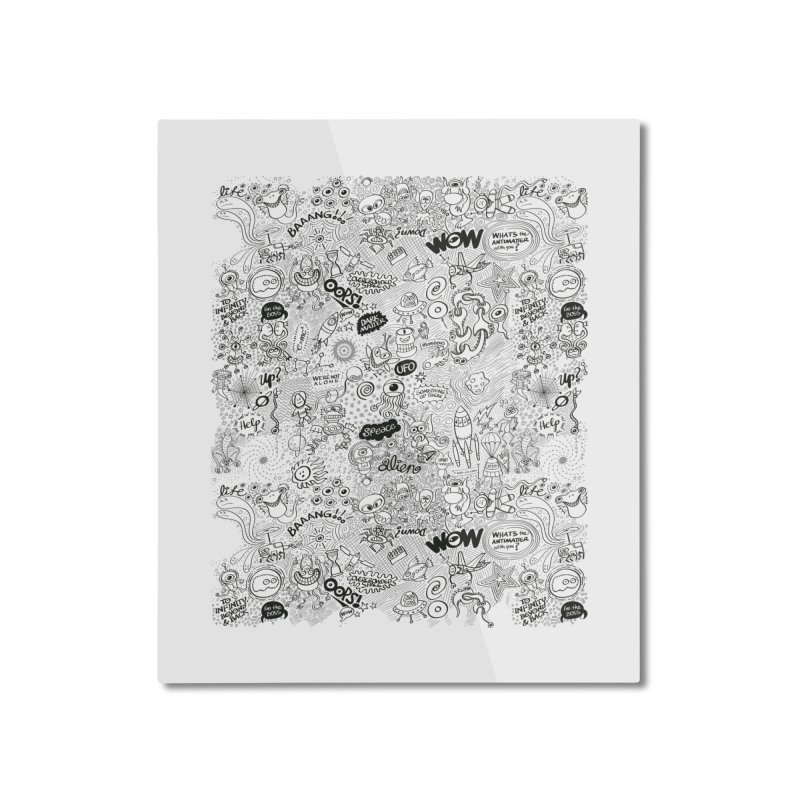 Cool pattern full of aliens, celestial bodies and crazy machines Home Mounted Aluminum Print by Zoo&co's Artist Shop