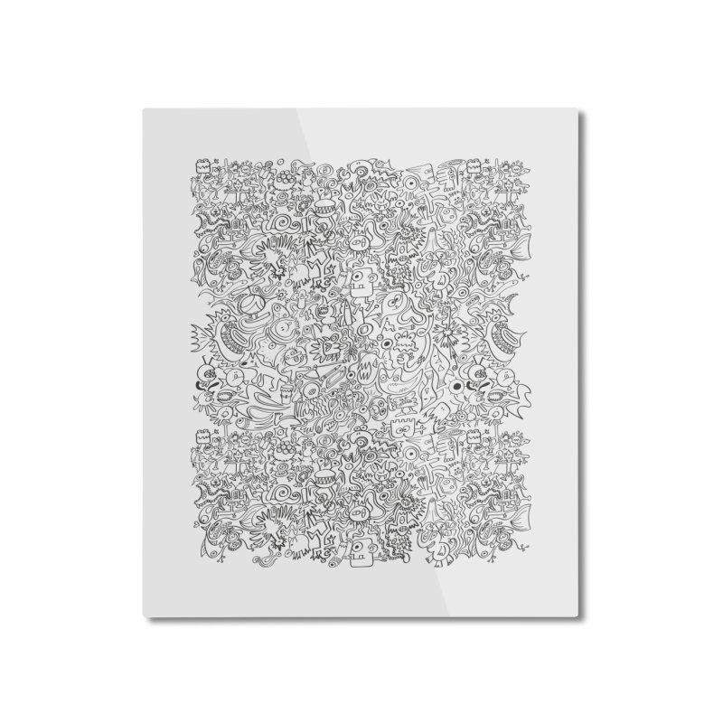 Odd creatures are escaping from my mind, I can't stop doodling Home Mounted Aluminum Print by Zoo&co's Artist Shop