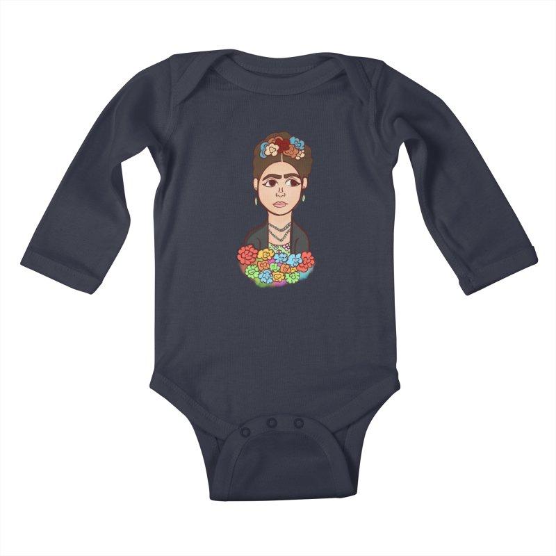 Frida K Kids Baby Longsleeve Bodysuit by ZuniReds's Artist Shop