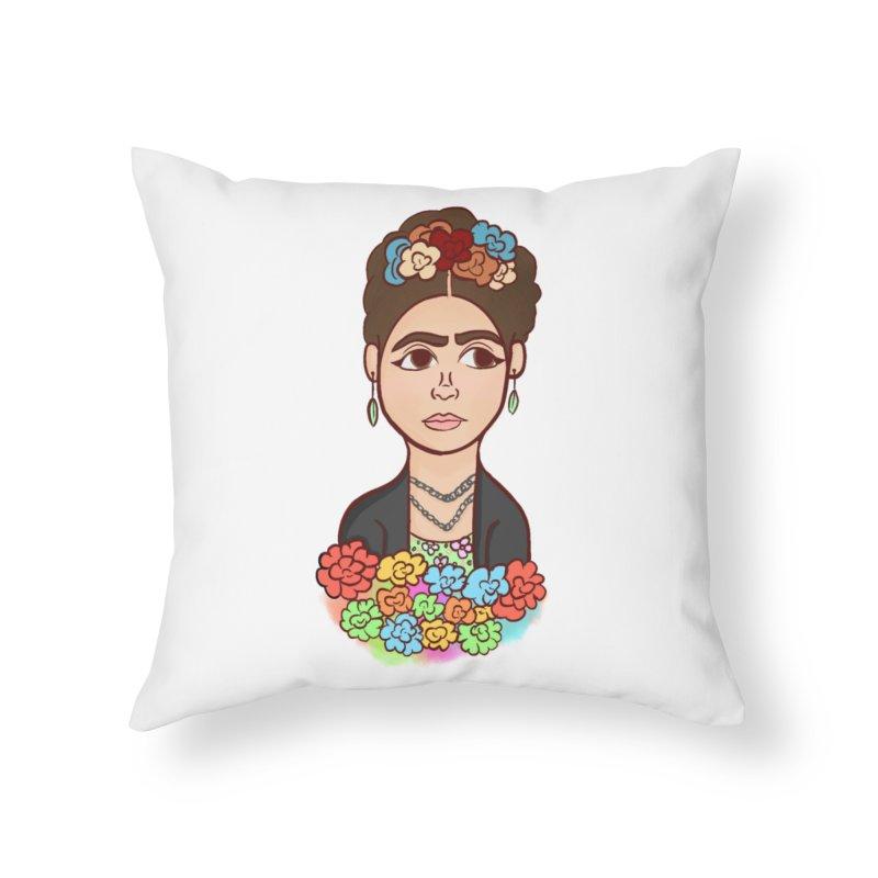 Frida K Home Throw Pillow by ZuniReds's Artist Shop