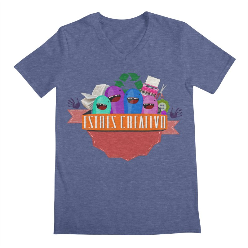 Estrés Creativo Men's Regular V-Neck by ZuniReds's Artist Shop
