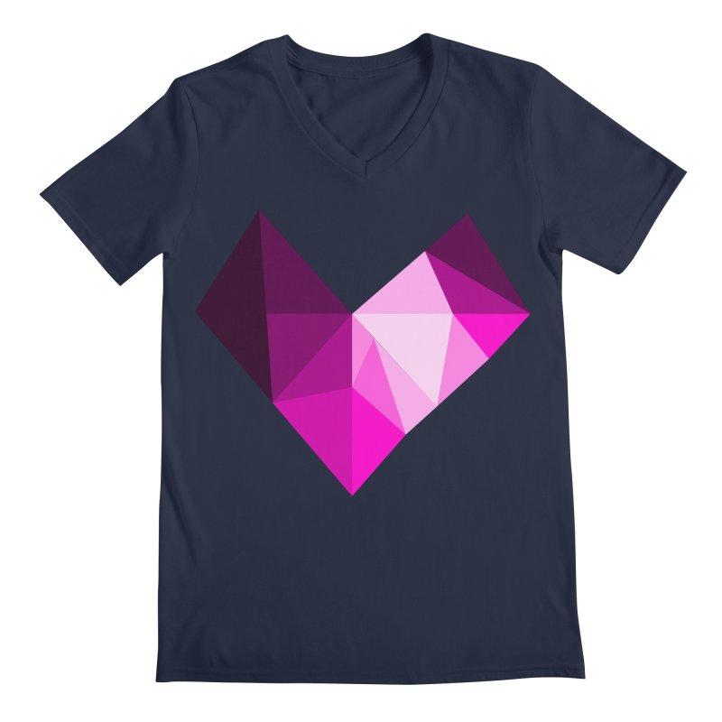 My pink heart Men's V-Neck by ZuniReds's Artist Shop