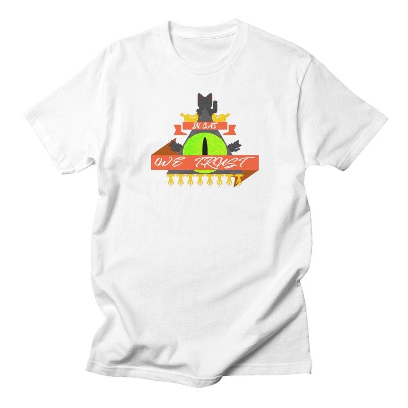 IN CAT WE TRUST Men's T-Shirt by ZuniReds's Artist Shop
