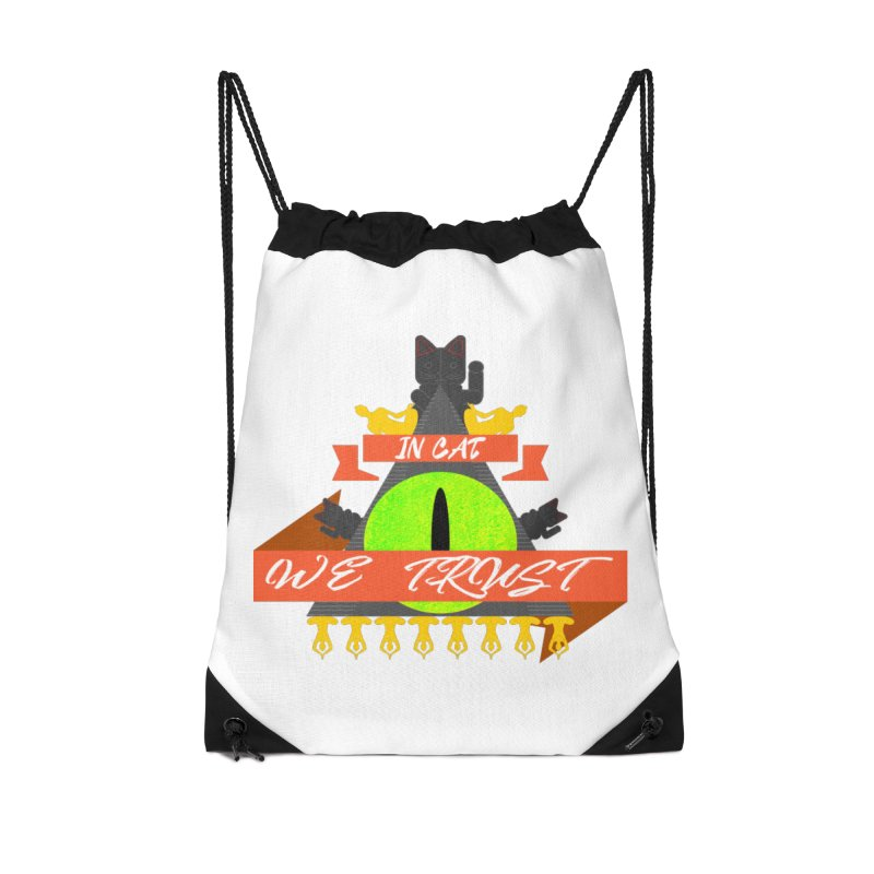 IN CAT WE TRUST Accessories Drawstring Bag Bag by ZuniReds's Artist Shop