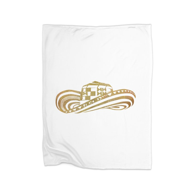 Colombian Sombrero Vueltiao in Gold Leaf Home Fleece Blanket Blanket by zuzugraphics's Artist Shop