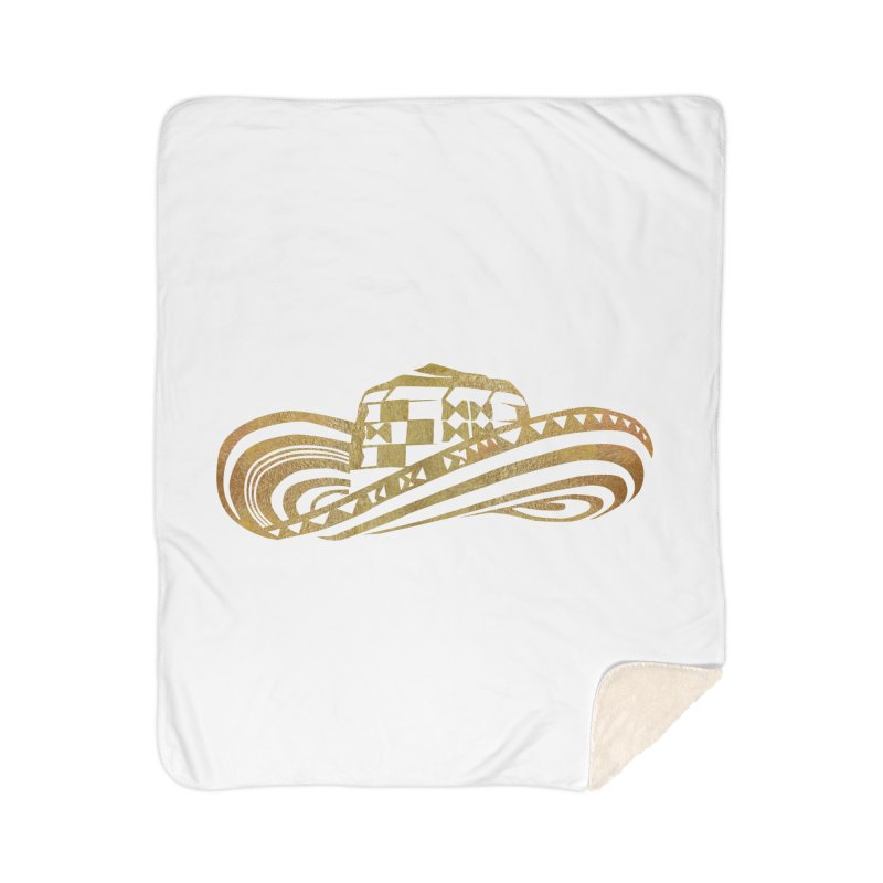 Colombian Sombrero Vueltiao in Gold Leaf Home Sherpa Blanket Blanket by zuzugraphics's Artist Shop
