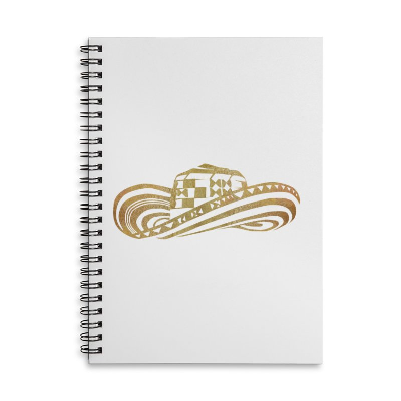 Colombian Sombrero Vueltiao in Gold Leaf Accessories Lined Spiral Notebook by zuzugraphics's Artist Shop