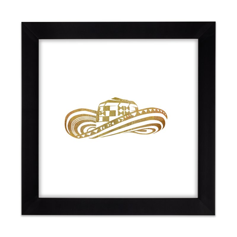 Colombian Sombrero Vueltiao in Gold Leaf Home Framed Fine Art Print by zuzugraphics's Artist Shop