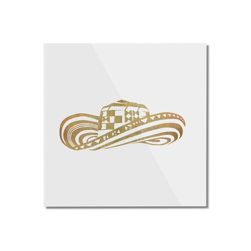 Colombian Sombrero Vueltiao in Gold Leaf Home Mounted Acrylic Print by zuzugraphics's Artist Shop