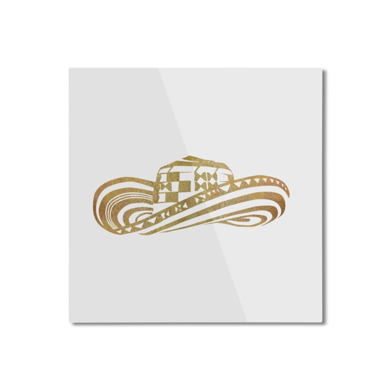Colombian Sombrero Vueltiao in Gold Leaf Home Mounted Aluminum Print by zuzugraphics's Artist Shop