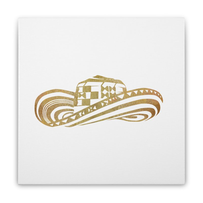 Colombian Sombrero Vueltiao in Gold Leaf  Home Stretched Canvas by zuzugraphics's Artist Shop